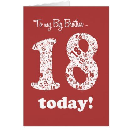 Chic Red 18th Birthday Card For Big Brother Stylish Pinterest
