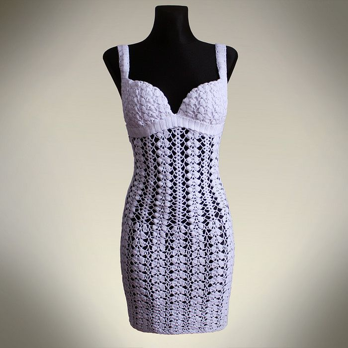 Beautiful White Lace Bustier Dress Free Crochet Graph Pattern Maybe