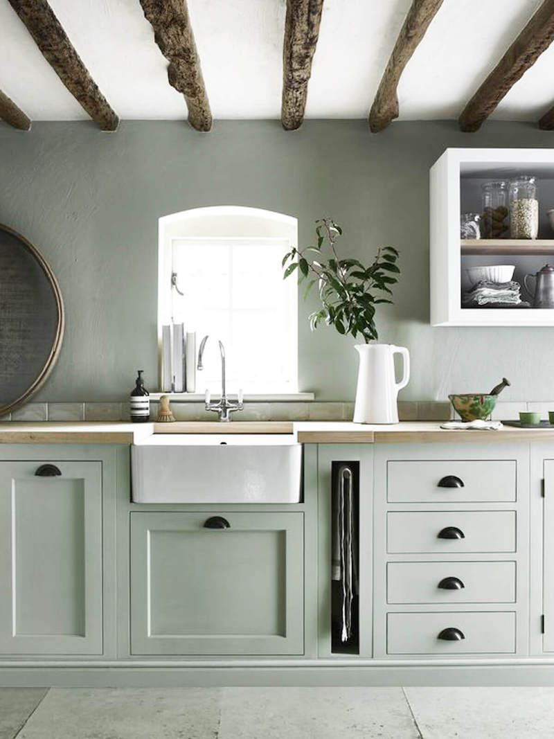 white farmhouse sink with muted green cabinets kitchen kitchens kitchenideas modernkitche on farmhouse kitchen wall colors id=17708