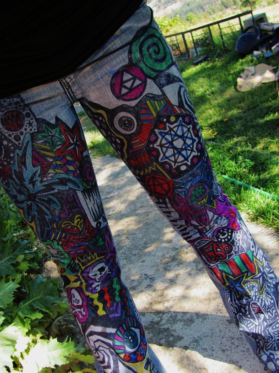 Sharpie Art On Pants | Sharpied Jeans by ~ emmajory | Altered u0026 Upcycled Fashion | Pinterest ...