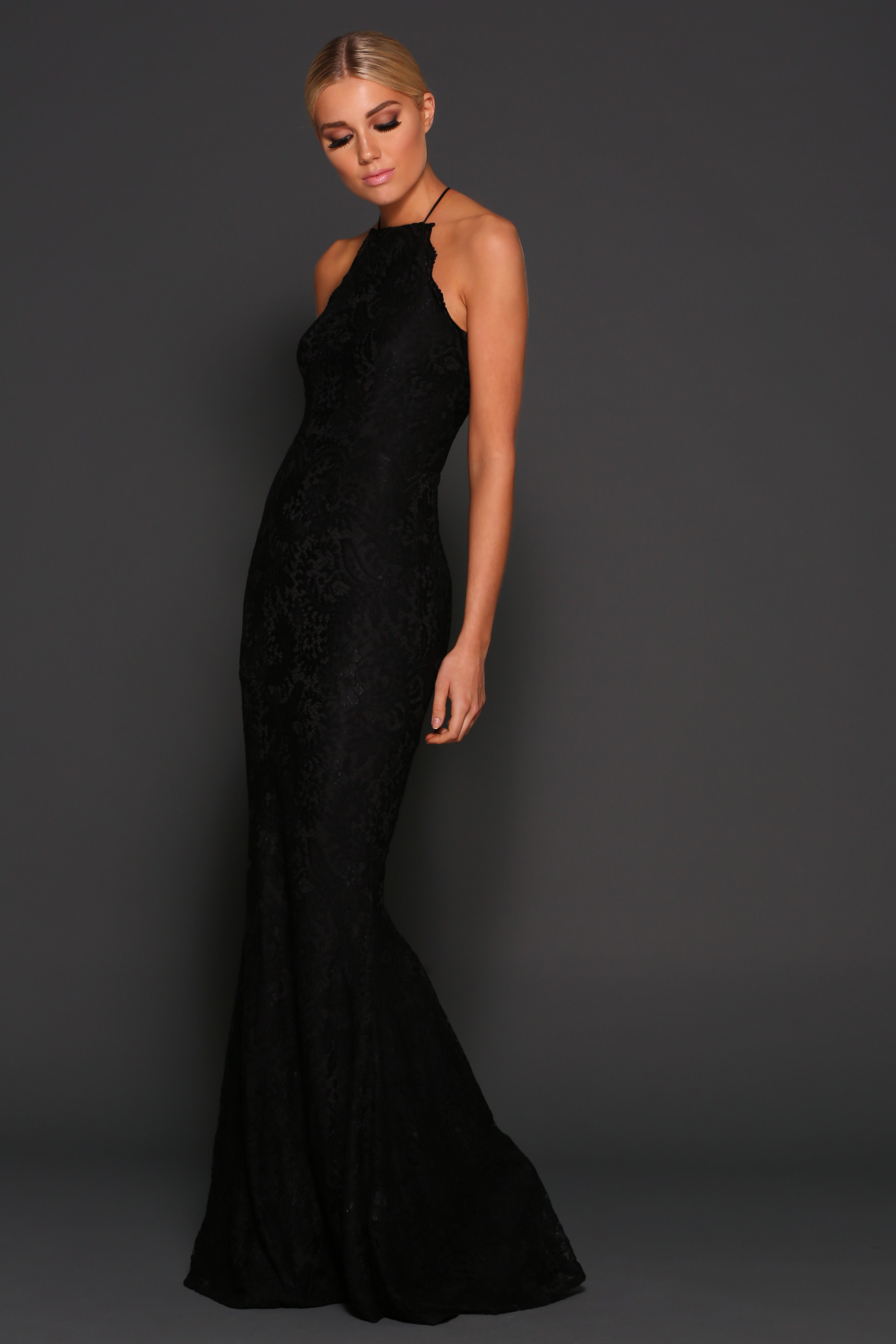 Lori black gowns online lace fabric and lace dress