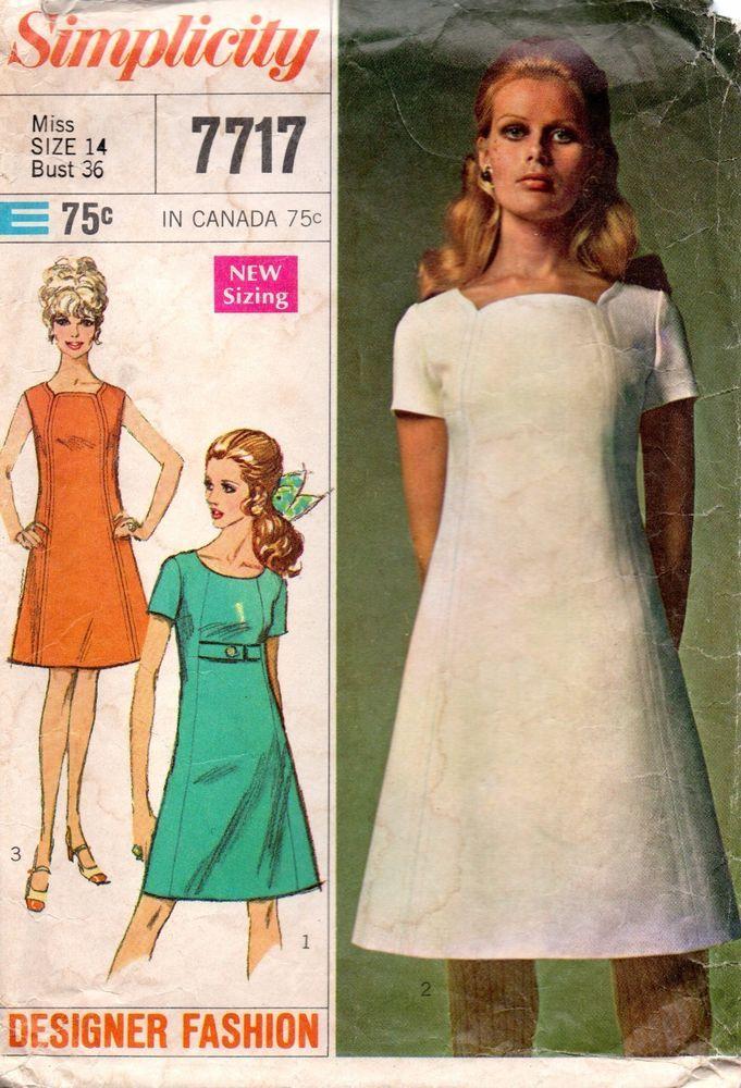 60s Simplicity Sewing Pattern 7717 Designer Fashion A-line Dress ...