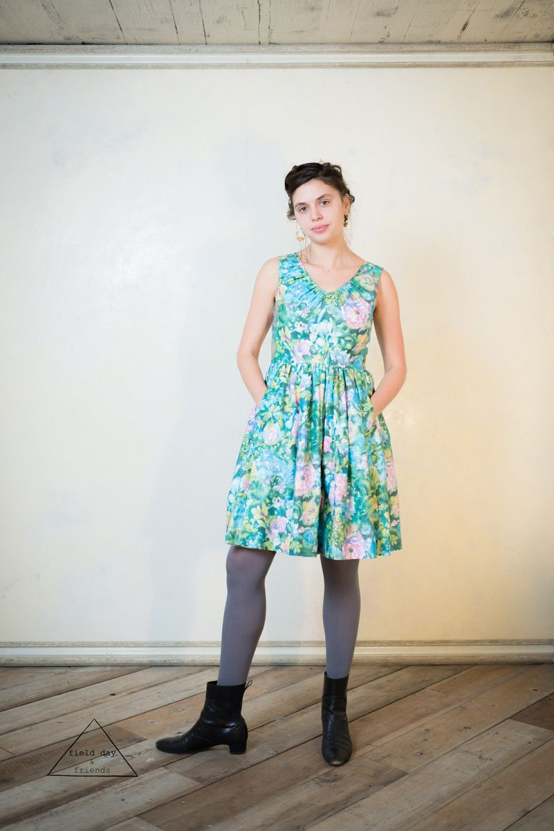 Garden Party Dress in green floral cotton an Aesti design by STLM ...