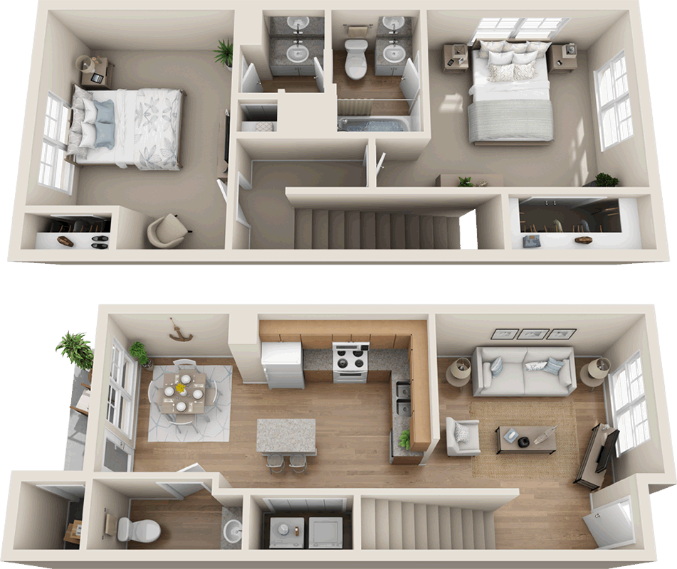 Two Bedroom One And 1 2 Bath Townhome 974 Sq Ft Budget