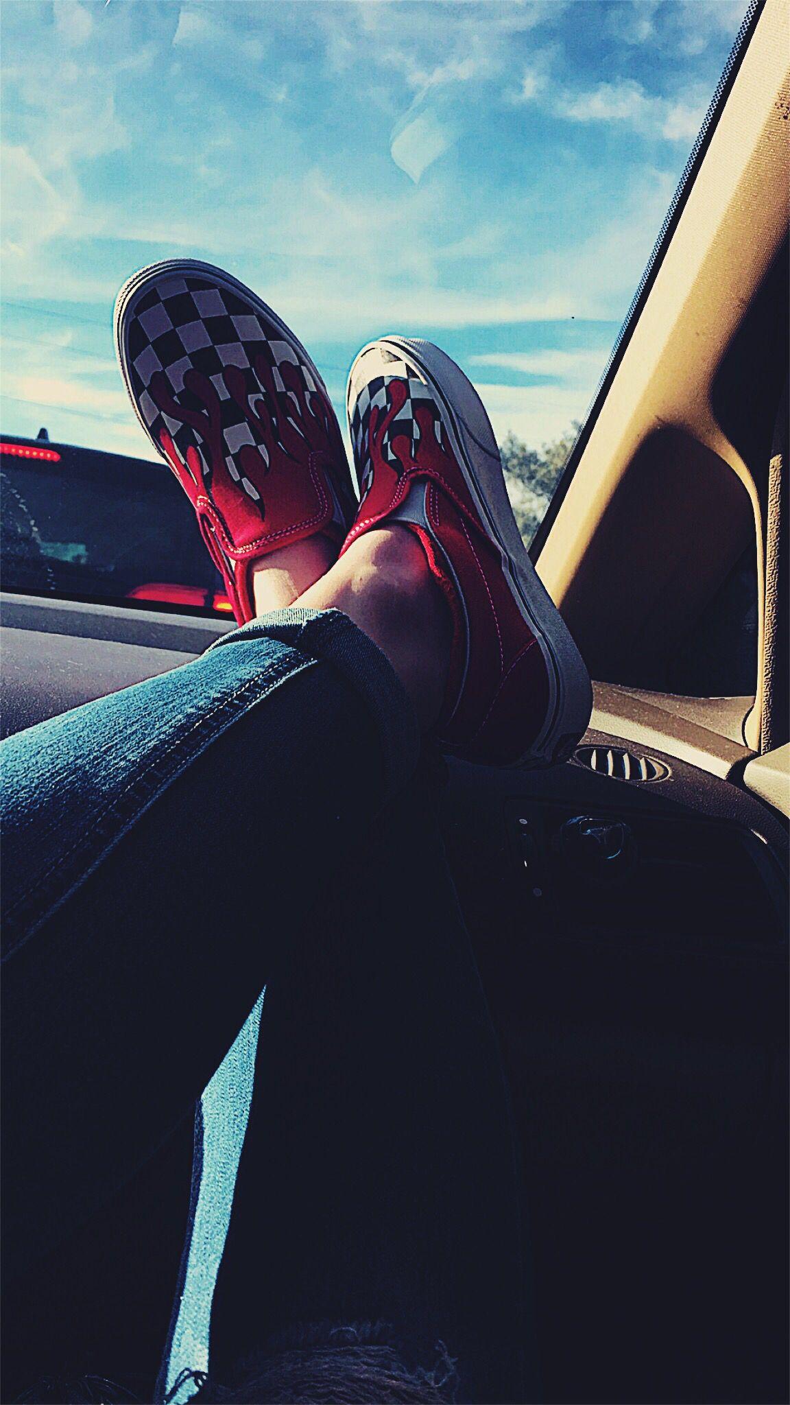 Black and white vans, Slip on shoes