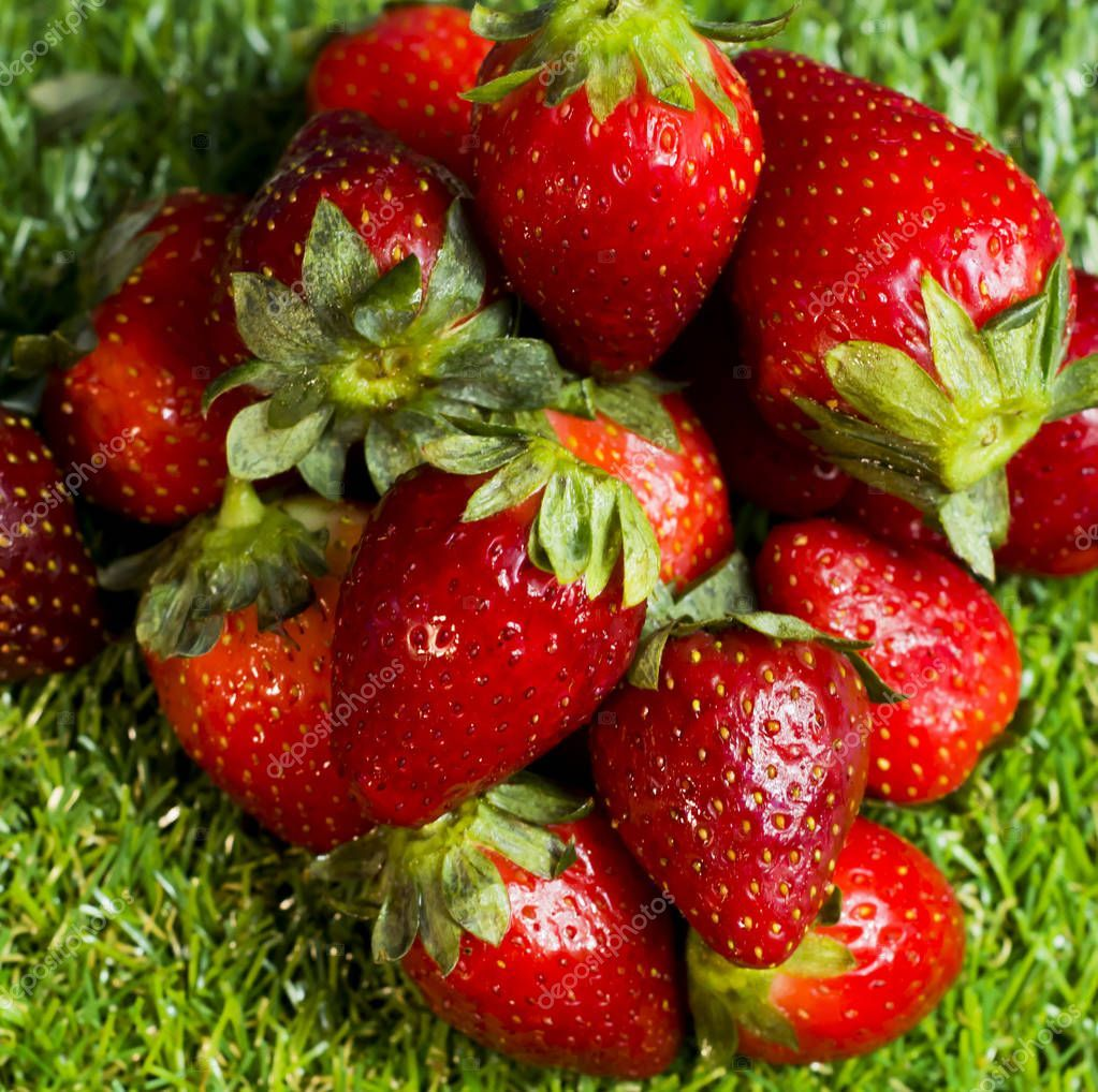 Red Strawberries In A Wooden Plate On Green Grass With Blue Sky Stock P Sponsored Wooden Plate Red Strawberr Red Strawberry Strawberry Green Grass