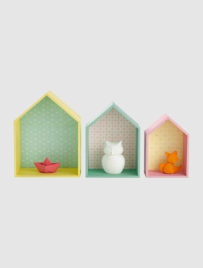 Prateleiras em forma de casa VERDE CLARO BICOLOR/MULTICOLOR