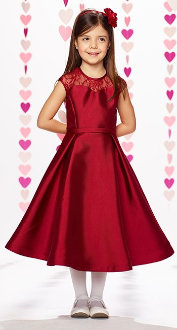 c45a7e0392 Mikado and lace mid-calf length full A-line dress with lace illusion cap  sleeves and jewel neckline