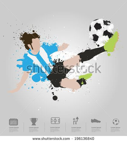 Soccer player kicks the ball, With colored splashes in
