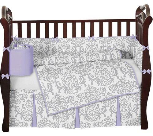 Lavender And Gray Elizabeth Baby Bedding 9 Piece Crib Set Crib Sets Baby Bed Gold Crib