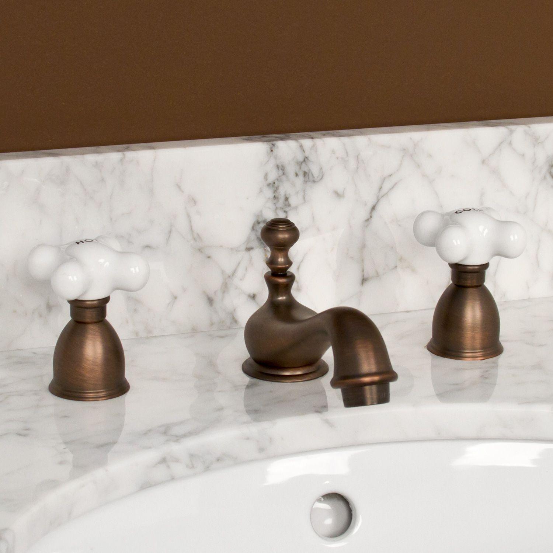 Barney Widespread Bathroom Faucet - Small Porcelain Cross Handles ...