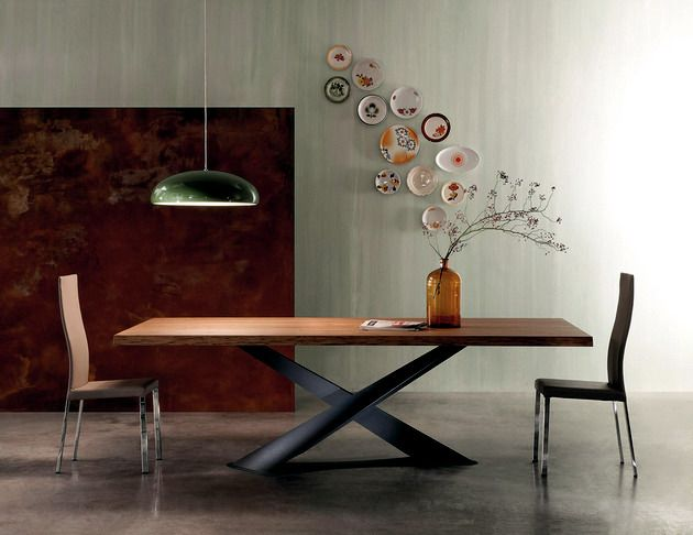 Contemporary Wooden Table Base Raw Steel Interior