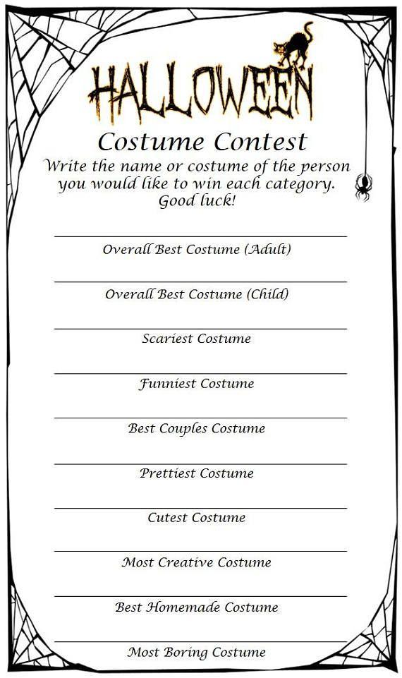 Halloween Costume Contest 2020 Ballot Halloween Costume Contest Ballot | Halloween costume contest