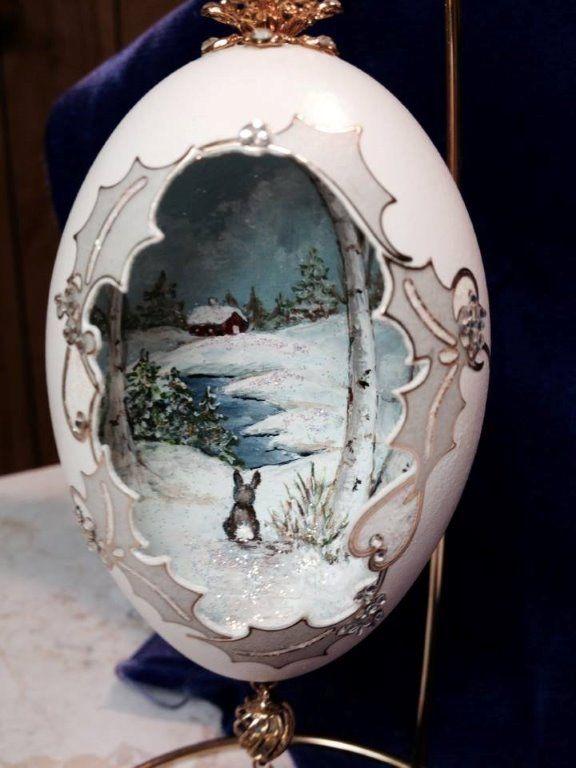 Hand Painted Winter Scene Egg Shell Art Egg Artistry