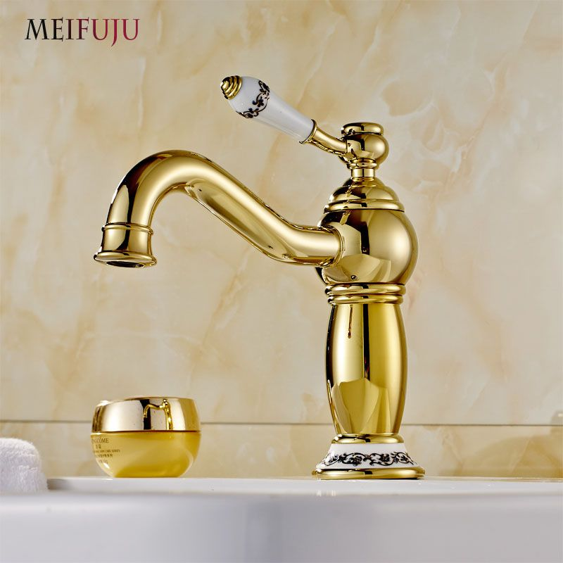 Luxury Golden Finish Bathroom Basin Faucet Single Handle Bathroom Sink Mixer Faucet Crane Tap Brass Hot Cold Water Deck Mounted Gold Bathroom Faucet Gold Faucet Bathroom Faucets