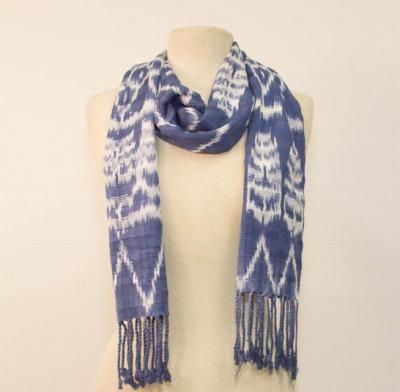 A Jaspe scarf like this takes about 19 hours to make by hand.