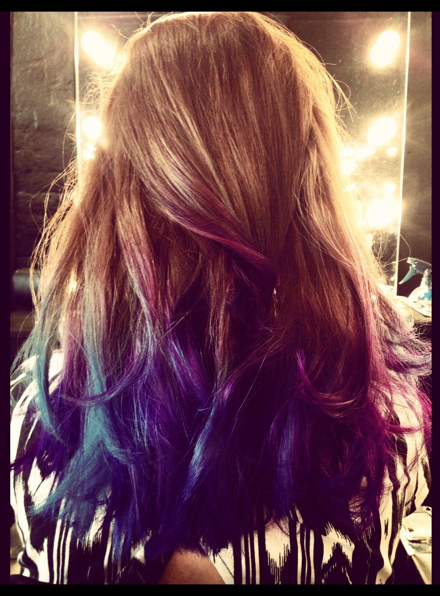 Dip dye blue purple hair dipdye hair pinterest dip dyed dye