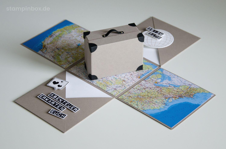 eine explosionsbox mit koffer passend zu den flitterwochen eine gl ckwunschkarte ein. Black Bedroom Furniture Sets. Home Design Ideas