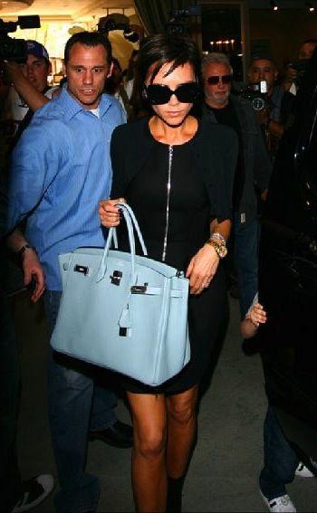 12764acb9e7 Hermes Birkin baby blue bag. Victoria Beckham.