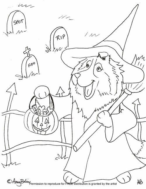 Free Coloring Sheet Download Halloween Trick Or Treat Sheltie Amy Bolin Puppy Coloring Pages Halloween Coloring Pages Halloween Hacks