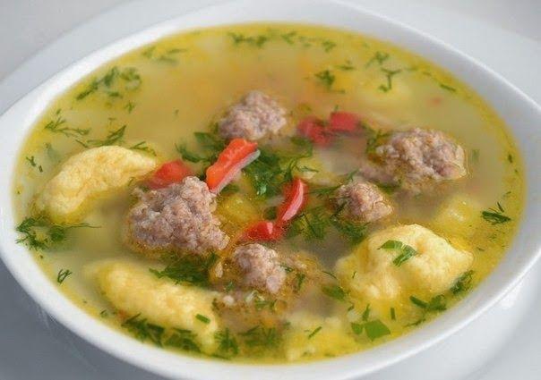 Суп с клёцками и фрикадельками / Мясные супы / TVCook 93