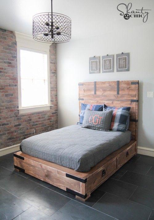DIY Full or Queen Size Storage Bed | Muebles con palets, Carpinteria ...