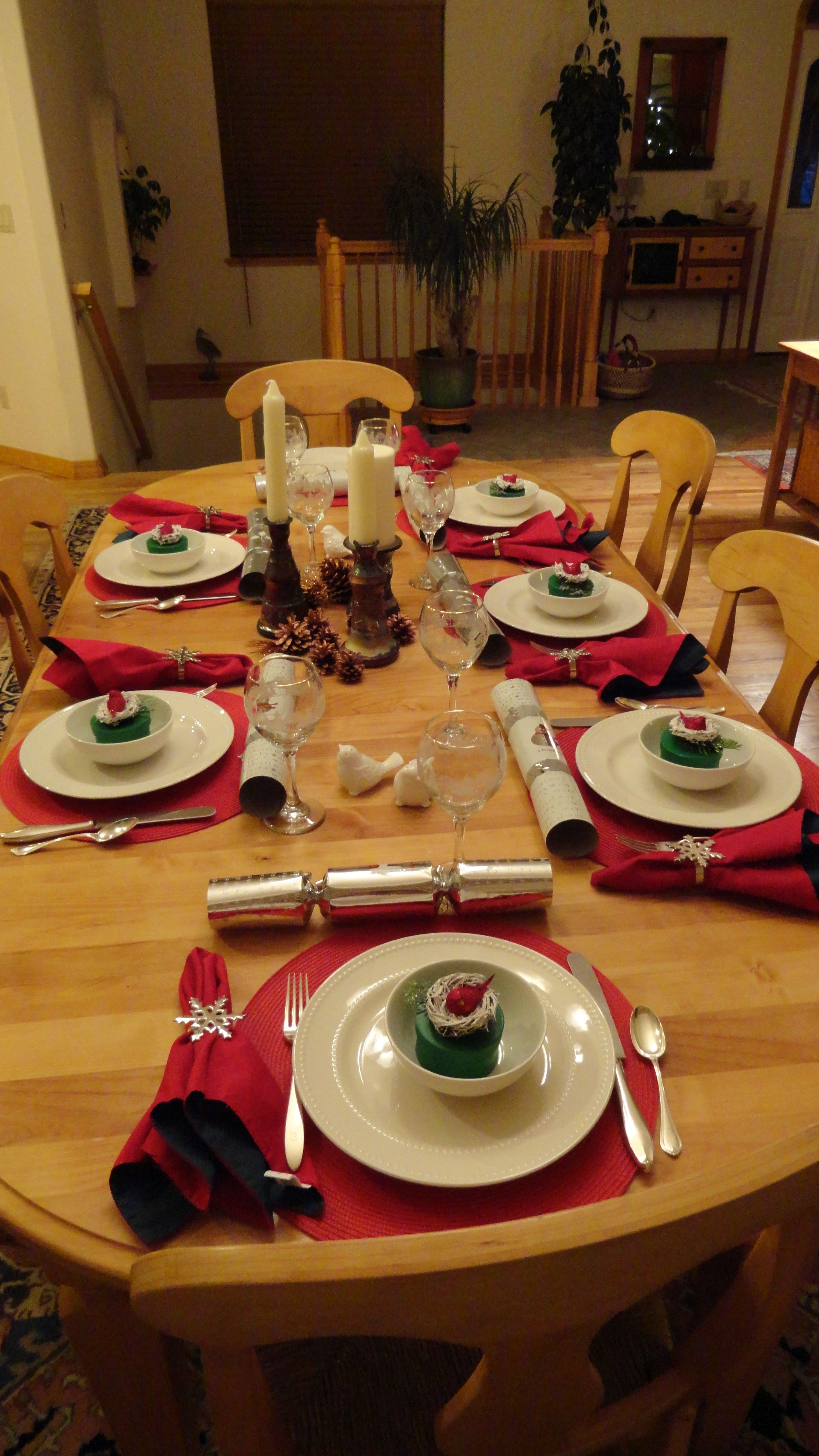 Christmas Table Setting Bird Boxes Handmade And Filled With Goodies