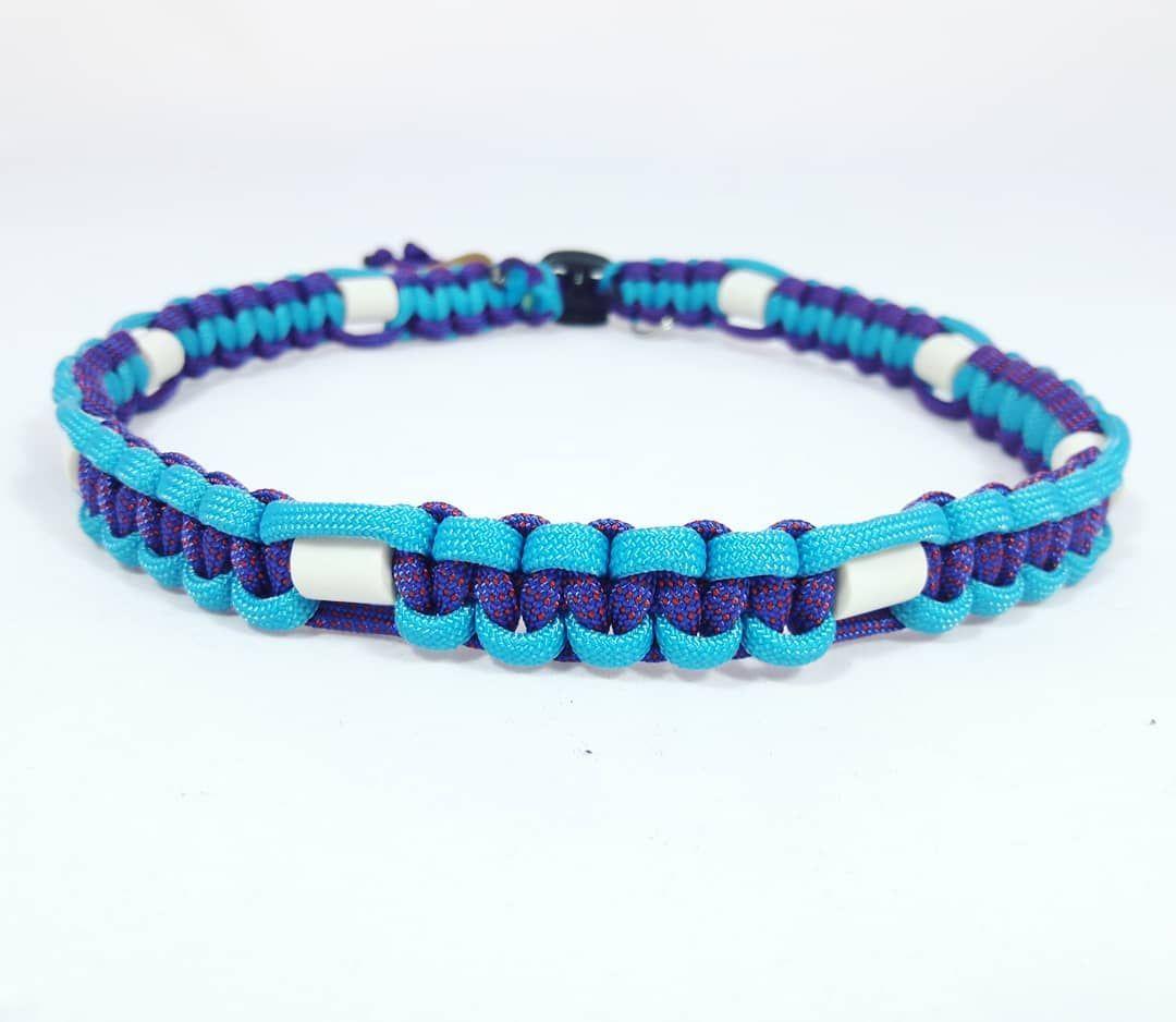 Em Keramik Halsband Neonturkis In Kombi Mit Illusion Cord Je Nach Lichteinfall Schimmert Das Em Keramik Halsband Neonturki Handmade Paracord Rope Bracelet