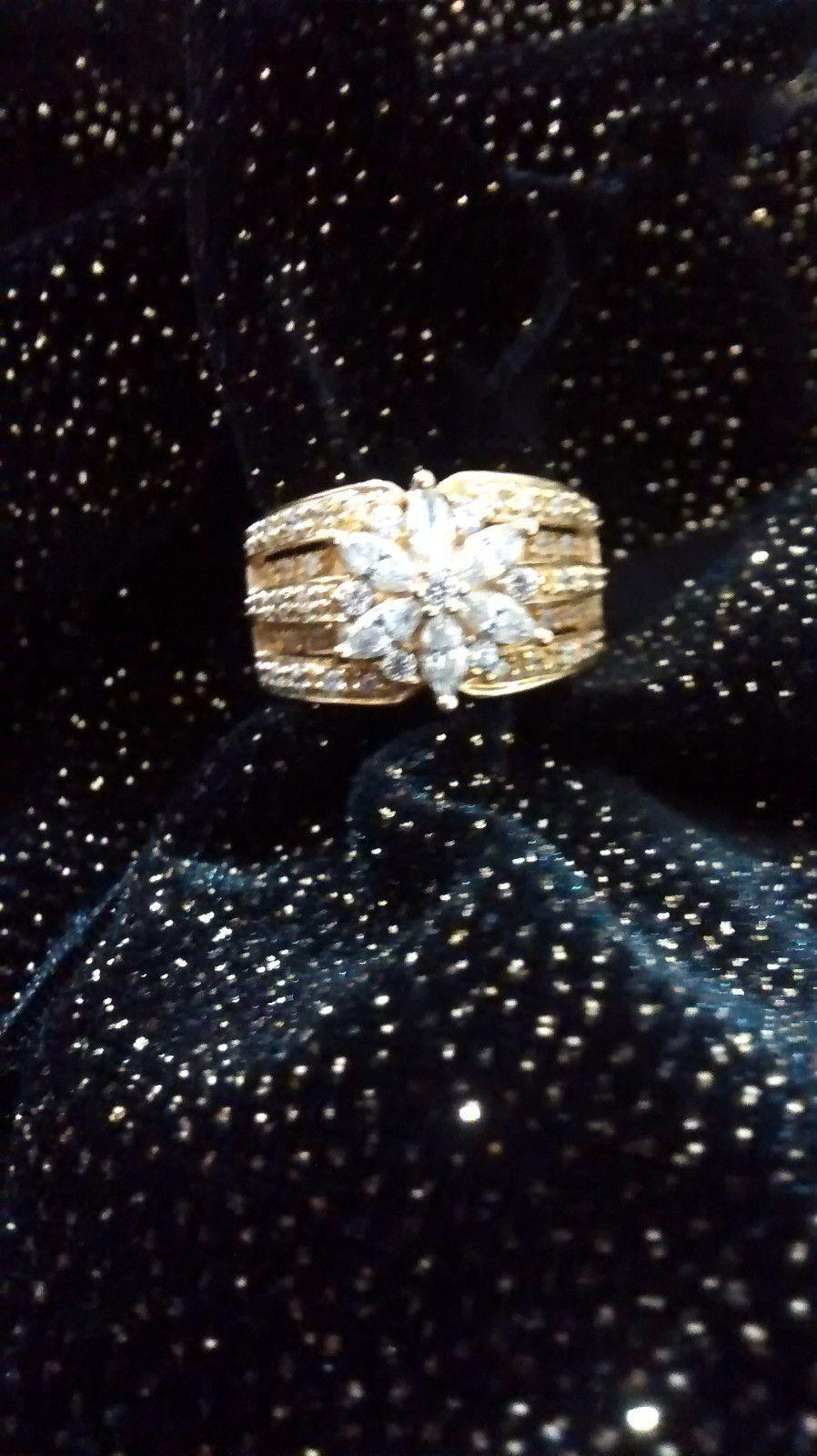 14K SOLID YELLOW GOLD DIAMONIQUE CZ 1 35 CT LISA MASON