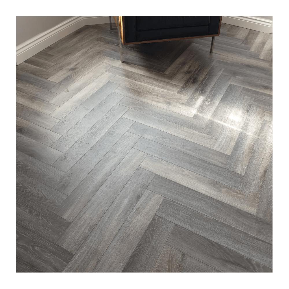 Emperor 12mm Laminate Flooring Grey Herringbone Oak In 2020 Herringbone Hardwood Floors Flooring Herringbone Wood Floor