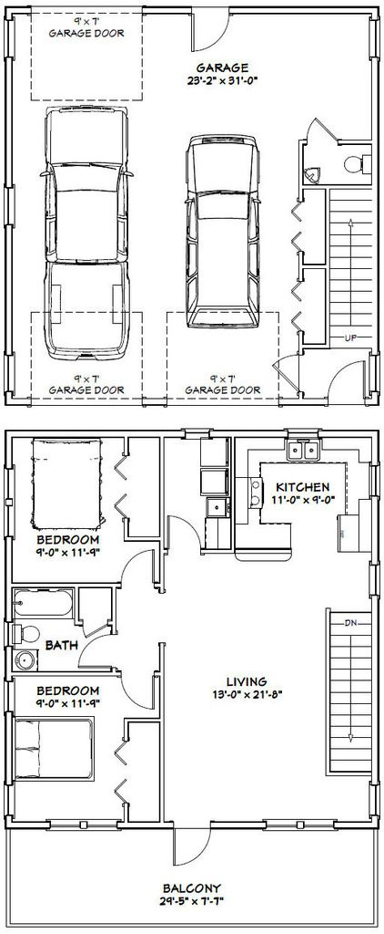 30x32 House 30x32h1i 986 Sq Ft Excellent Floor Plans Garage House Garage Apartment Plans Garage Plans