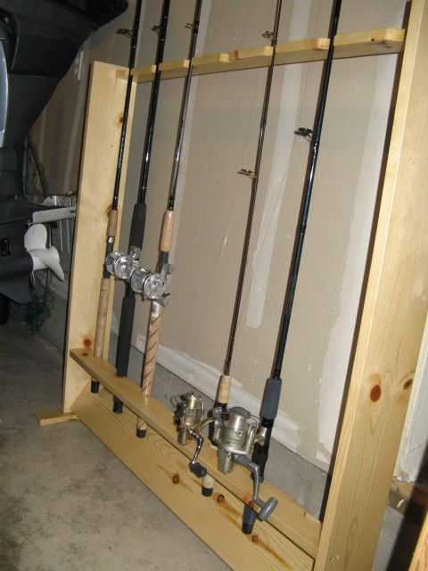 Fishing rod rack diy with pictures and steps www for Homemade fishing rod storage ideas
