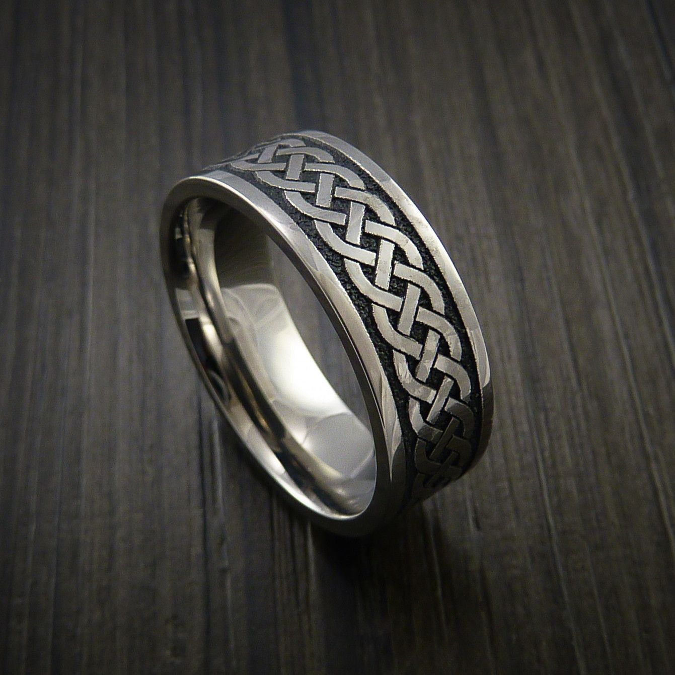 This is a photo of Titanium Celtic Irish Knot Ring Carved Band Rings for men