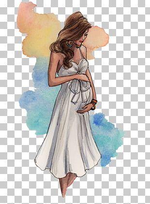 Ilustración de mujer embarazada, dibujo ilustración de moda de embarazo, embar...