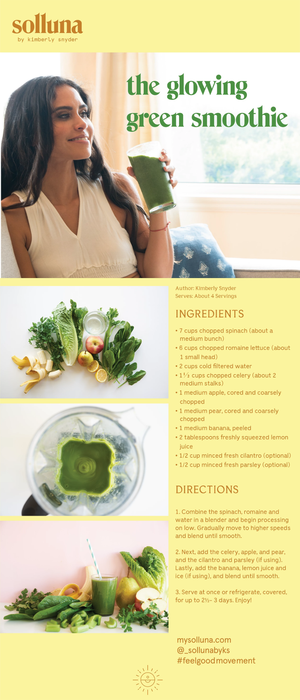 Glowing Green Smoothie Solluna By Kimberly Snyder