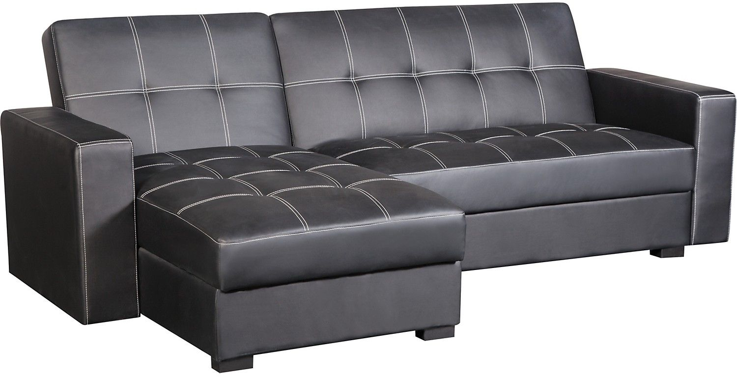 Sofa beds with storage space - Belize 2 Piece Storage Futon With Chaise Black
