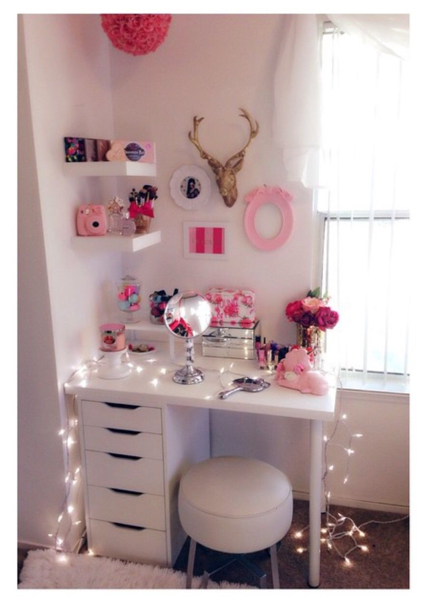 Makeup room @tatix #makeup #desk | Small bedroom storage ... on Make Up Room Ideas  id=73536