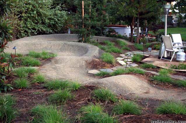 Landscaped Backyard Pump Track Bmx Dirt Bike Parking