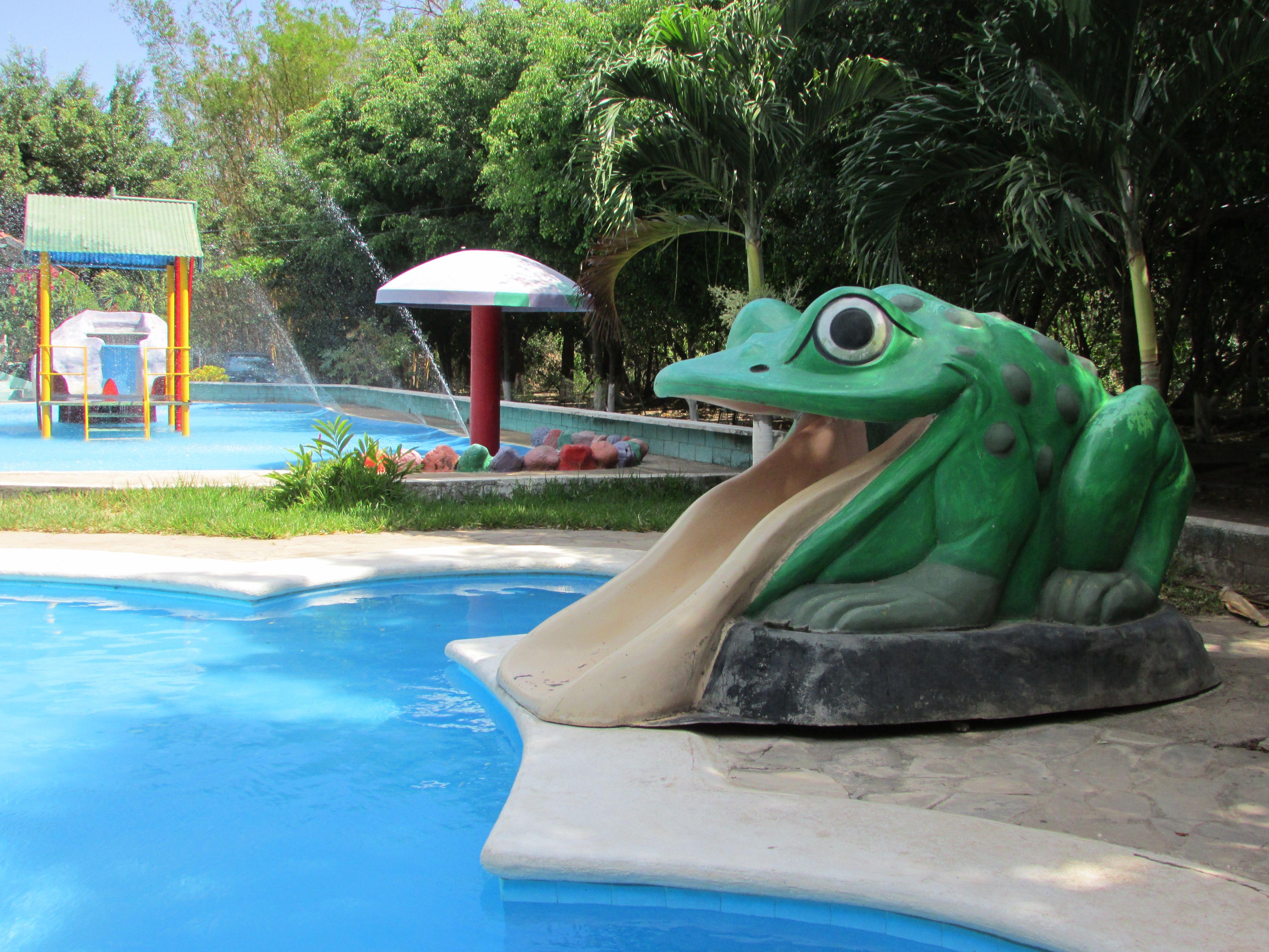 A Gigant Frog El Encanto Aqua Park Santiago De La Frontera El Salvador Photo By Ana Silva El Salvador Playground Pool Float