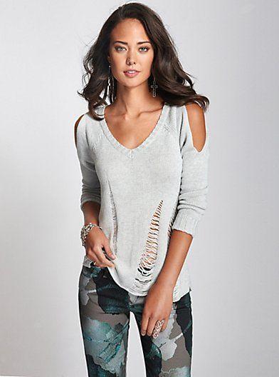 5a670873332d4 Long-Sleeve Cold Shoulder Shredded Sweater