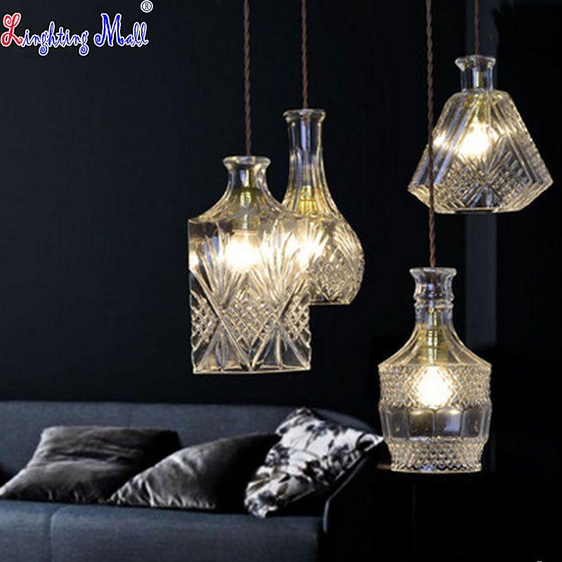 Goedkope W Glas Hanglamp Creatieve Wijnfles Ontwerp Moderne LED ...