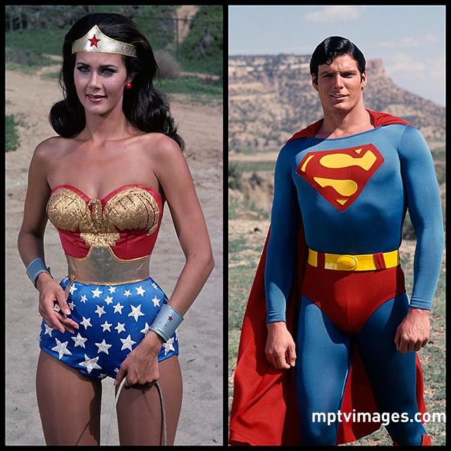 Happy Nationalsuperheroday Lynda Carter As Wonder Woman And Christopher Reeve As Superman Rig Wonder Woman Comic Wonder Woman Pictures Superman Wonder Woman