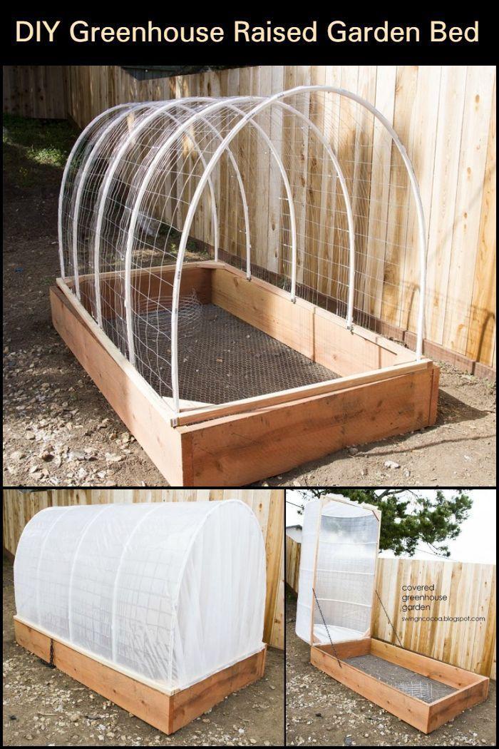 DIY Greenhouse Raised Garden Bed Building a raised