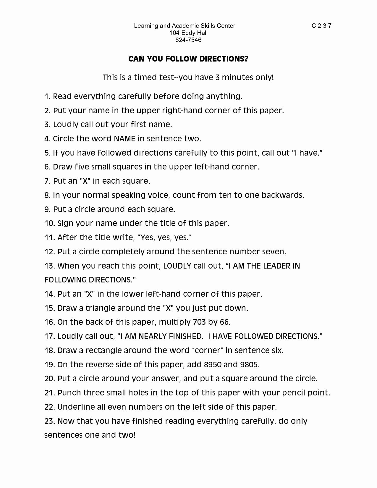 Following Directions Worksheet Middle School Best Of