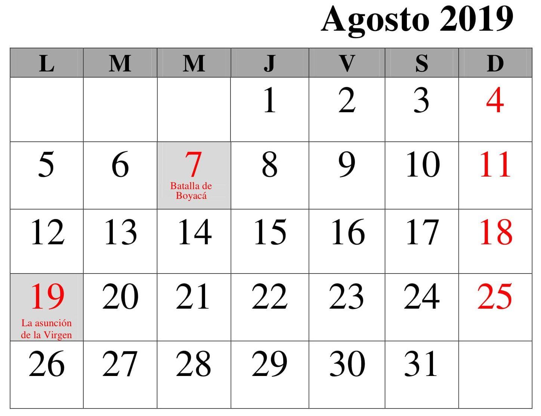 Calendario Agosto 2019 Con Feriados.Calendario 2019 Agosto Con Festivos Excel Calendario