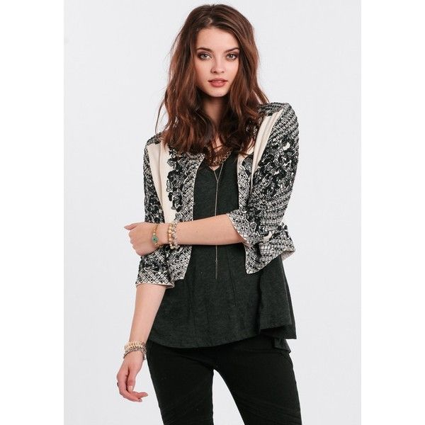 Raga Avanti Embroidered Jacket ($70) via Polyvore featuring outerwear and jackets