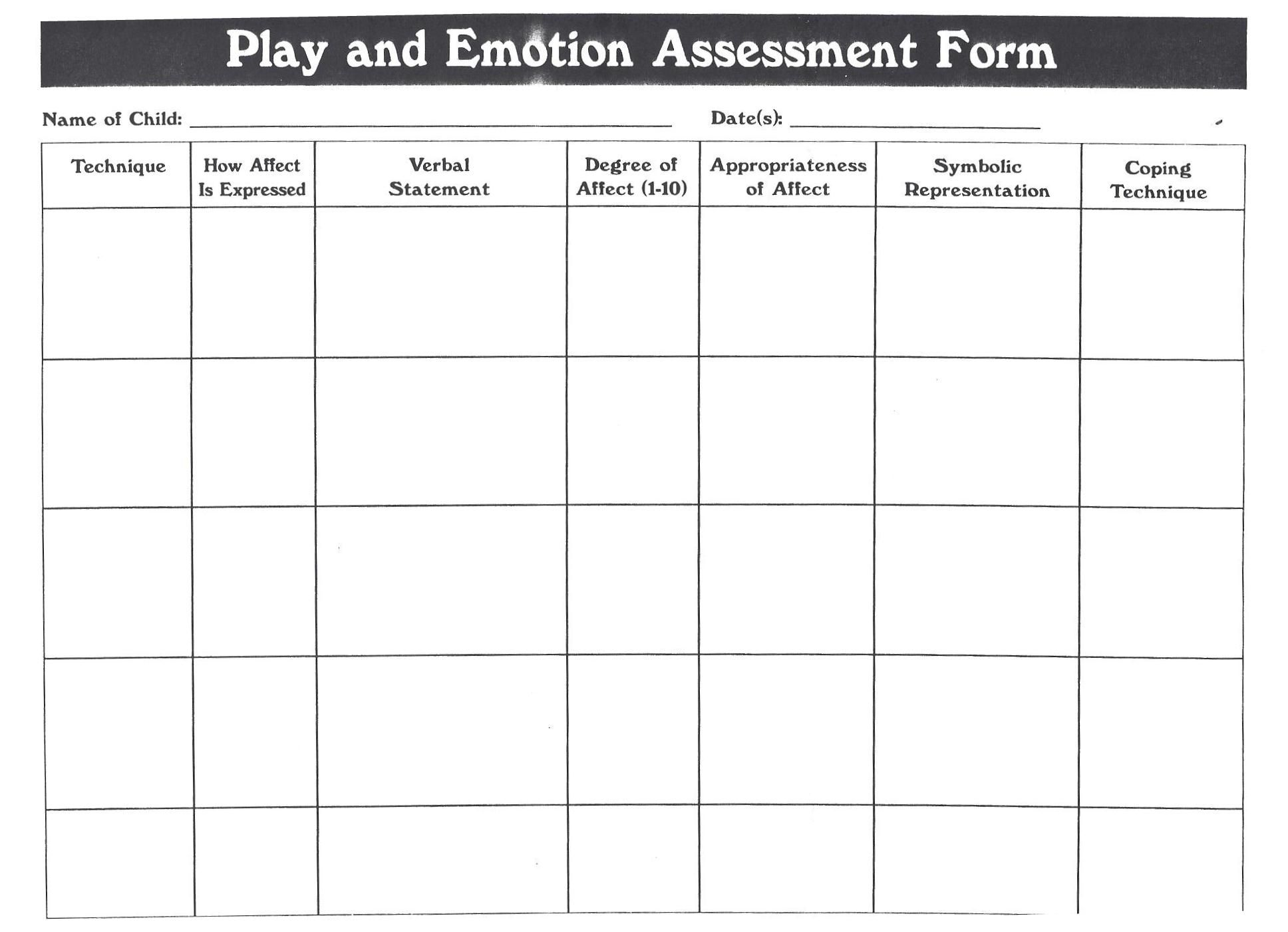 Play And Emotion Assessment Form