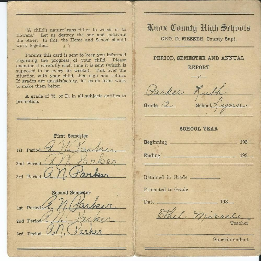 1930s Knox County High School Ky Report Card For Ruth Parker