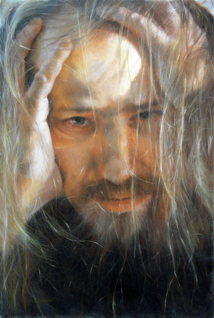"""By Tunping Wang (王敦平)  .  Pastel on paper., 60"""" x 40"""".  For other works, see www.art@tunpingwang.com.   This Chinese born, American -trained artist works in a Renaissance inspired figurative tradition; he has a truly remarkable mimetic gift.  His studio is based in the NYC area.  I understand he also does work for Jeff Koons' studio."""