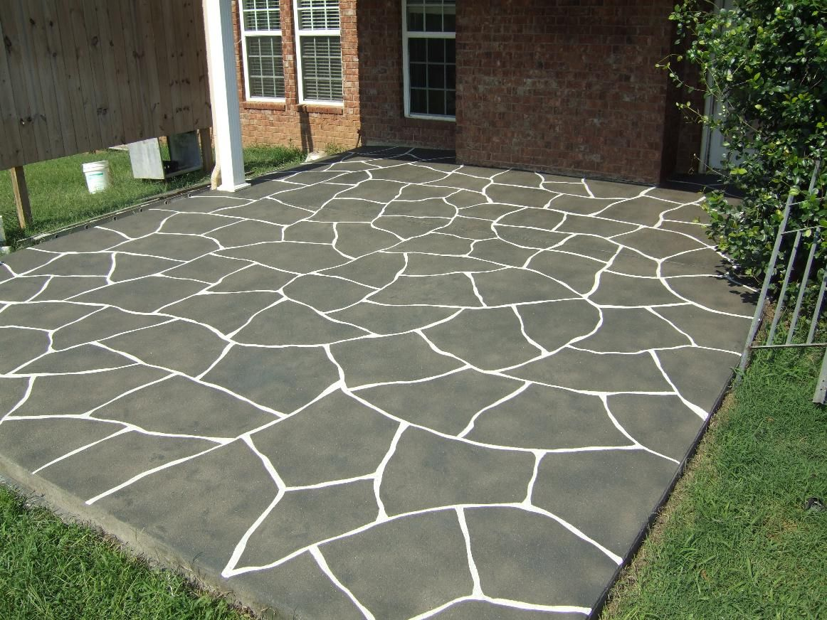 southern concrete designs llc stained with smiths antique gray and then engraved a flagstone pattern